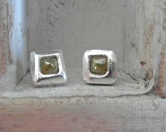 Exquisite-Raw Rough uncut Diamond  Stud Earrings-post back- pave stone-organic silver-perfect for any occasion