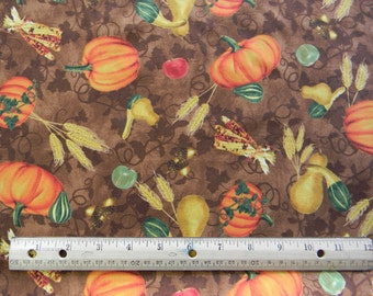 Beauty of Autumn Pumpkins harvest on Brown premium cotton fabric by Grace Pullen for South Sea Import