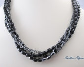Black Diamond Farfalle Interchangeable Multi Necklace Strand black silver multi strand multi wear necklace small black and silver bead
