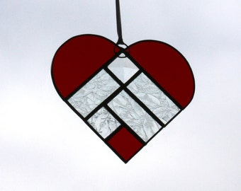 Red Heart Stained Glass Suncatcher with Snowflake Patterns