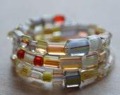 Beaded Memory Wire Bracelet Rainbow Red Yellow Orange  Clear Glass Beads Cane Glass Bold Statement Dramatic Stripes 1