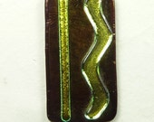 SALE Fused Glass Pendant of Copper with Yellow Green Dichroic Glass
