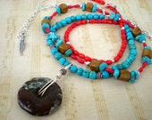 Campfire songs trio of beaded necklaces, turquoise, red coral, sterling silver, wood jasper, unique jewelry by Grey Girl Designs on Etsy