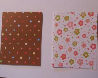 Set of 5 Pink, Brown, Pastel Blank Notecards with Envelopes