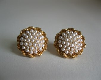 Vintage 1950s Marcel Boucher Earrings Faux Pearl Wedding Bridal Fashions