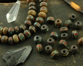 Bark: Brown Bone Beads, Inlaid with Coral, Turquoise, Brass / 9mm Rondelle, 10 beads / Nepal / Natural Craft, Jewelry Making Supplies