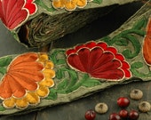 "Last Piece: Autumn Flower Fan Festive Floral, Red, Orange, Yellow Green, Silk Trim, Ribbon, Sari Border, India 3"", 2 pieces, Sewing Supplies"