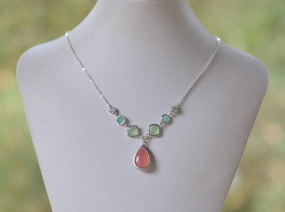 Unique Jewel Pendant Statement Necklace with Shades of Coral Pink, Mint and Aqua.  Unique Fashion Necklace.  Silver Jewel Necklace.