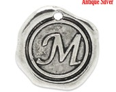 "1pc Initial ""M"" Antique Silver Charm. Personalized Small Pendant. Metal letter. 18mm Round Disc. Necklace Bracelet Component."