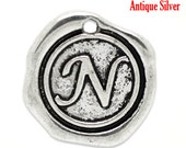 "1pc Initial ""N"" Antique Silver Charm. Personalized Small Pendant. Metal letter. 18mm Round Disc. Necklace Bracelet Component."