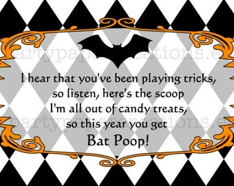 Halloween Bat Poop Party Favor Treat Bag Toppers - Printable Digital File Instant Download