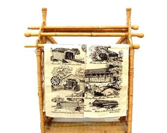 Vintage Tea Towels Fine Linen Pair of 2 Kitchen Towel NOS Beige & Black New England Covered Bridges 1960s