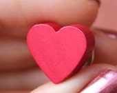 Wooden Heart Token Pin or Thumb Tack