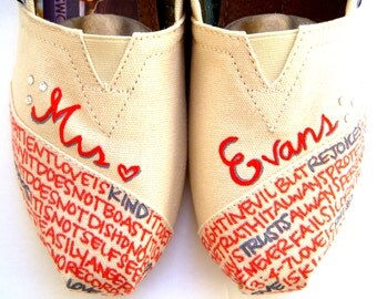 The Evans - Orange and Gray Custom Wedding TOMS