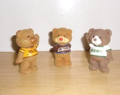 Vintage Advertising Mar's Chocolate Company Flocked Bears M&M, Snickers, Milky Way