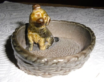 Vintage Wade Porcelain Alsatian Puppy Sitting in a Basket 1970s