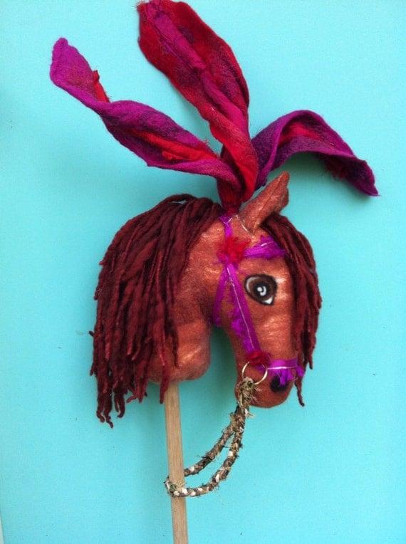 Hand felted handmade Wild Woollies Circus Hobby Horse art wool felt red chestnut magenta silk 'Magnolia''