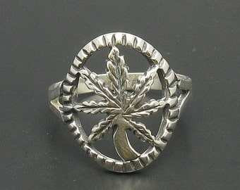 R000308 STERLING SILVER Ring Solid 925 Marihuana Pot