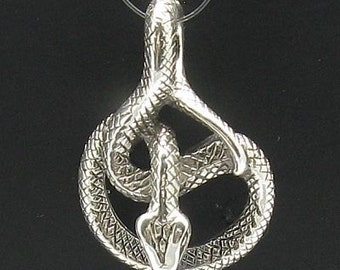 PE000381 Sterling silver snake pendant solid 925
