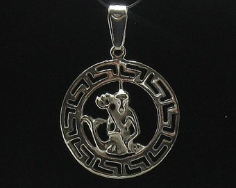 PE000254 Sterling silver pendant  925 charm zodiac sign aquarius solid