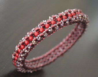 Solid Waterproof Seed Bead Beadwoven Bracelet Bangle