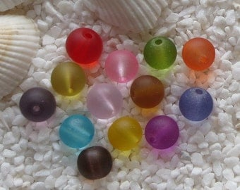 Glass Beads - Frosted -  8mm - CHOICE of 3 colors - 30 pcs