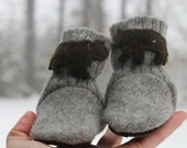 Brown Bear Baby Boots Woolies Wool / Toddler Slipper Shoes / Leather Soles