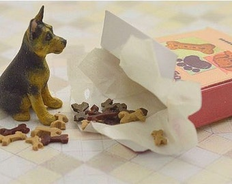 Miniature OOAK hand carved wood tiny Greman Shepherd puppy in a little biscuit box dog breed pet by IGMA Fellow Linda Master Miracle Chicken