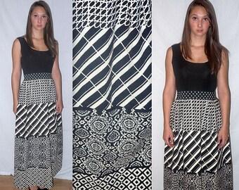 Mod momentum ... Vintage 60s maxi dress / 1960s geometric op art / high waist waisted / boho mad men / style hostess .. S M