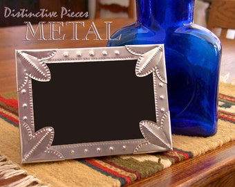 """Metal Picture Frame, Fleur de Lis - Southwestern Style, New Mexico Hand Punched Tin, Western Folk Art, 5 x 7"""" Silver Photo Frame, FM0507-B"""