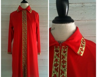 Vintage Dress - 70s Red and GOLD Robe Dress
