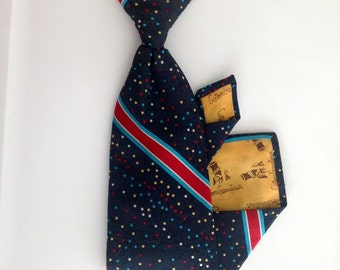 Vintage Polka Dot Tie - 1960s Navy Blue, Red, White, Yellow Clip-On Tie with Polka Dots and Stripes