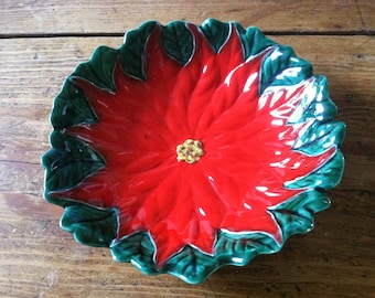 Poinsettia Dish Bowl Red Green Vintage Handmade Signed RLM ON SALE 50% Off