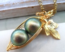 2 Peas In A Pod  Necklace. Iridescent Green - New Color -  For  Mothers, Sisters, BFF, Bridesmaids - Choose Your Color Pearl And Metal.