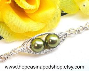 2.3.or 4 Peas In A Pod Petite Silver Bracelet - Mother gift, Grandma gift, sister gift, best friend gift, BFF, bridesmaid gift