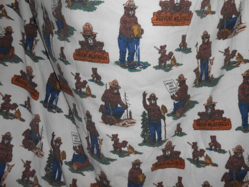 Vintage Smokey Bear Bed Sheet Smokey The Bear Flannel Bed