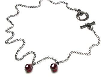 Vampire Bite Necklace, Deep Dark Red Swarovski Crystal Teardrop, Vampire Blood Choker, Red Drops of Blood, Blood Droplet, Dracula, Halloween
