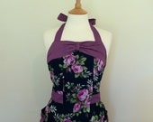 Retro apron, vibrant floral pattern, 1950s vintage inspired apron.