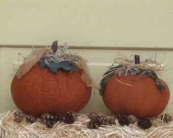 Primitive Pumpkin Tucks - Fabric - Set of 2 - Fall Centerpiece - Autumn Table Decor - Shelf Sitters