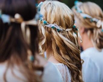 Lace Boho Bridal Floral Crown Fall Hair Wreath Wedding Hair accessories Teal Aqua silk Renaissance headwreath bridal headpiece Celtic