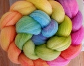 "PREORDER Hand Dyed Merino Wool Roving Top for Spinning - ""Hipster Rainbow Grad"" September Phat Fiber"