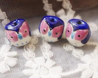 6 pcs adorable blue little eye owl beads
