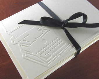 Typewriter Card Set for Writer, Author, Antique Lover (8 Retro, Vintage Style Embossed Cards)