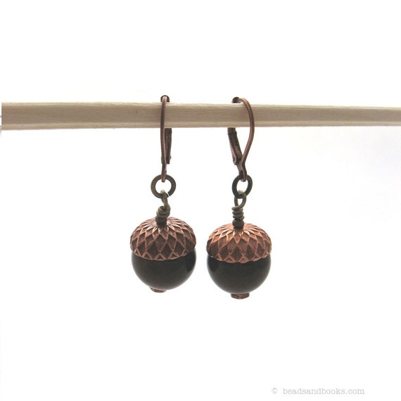Acorn Earrings (Fall Jewelry Fashion, Brown and Copper, Thanksgiving)