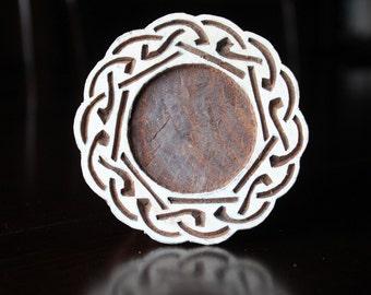 Indian Hand Carved Wood Block Stamp- Round Celtic Frame