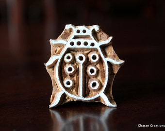 Wood Block Stamp, Tjaps, Indian Wood Stamp, Pottery Stamp, Textile Stamp, Hand Carved - Ladybug