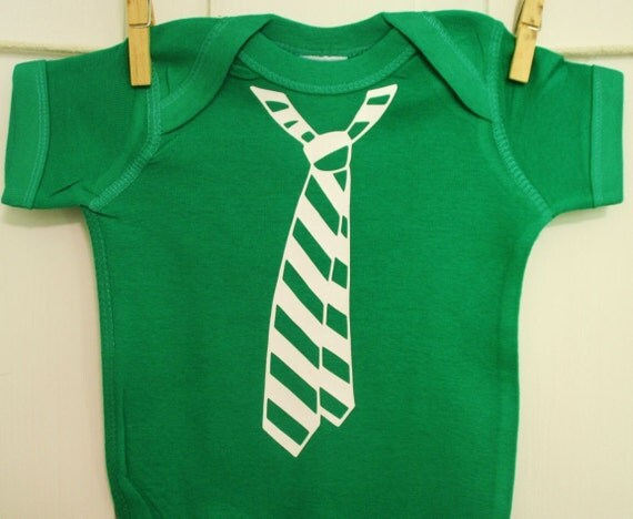 Preppy Punk Tie in Kelly Green Onesie Christmas or Saint Patty's Day