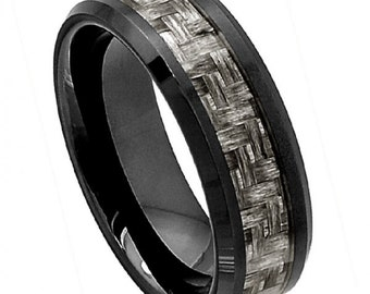 Gift For Men, Mens Anniversary Gift,  Man Wedding Band, Mens Ring, Mens Jewelry, 8MM Charcoal Grey Carbon Fiber Ceramic Wedding Band Ring