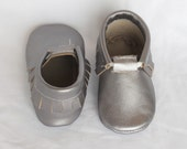 Silver Shiny Metallic Grey, Gray Genuine Real Leather Moccasins, Moccs, Shoes