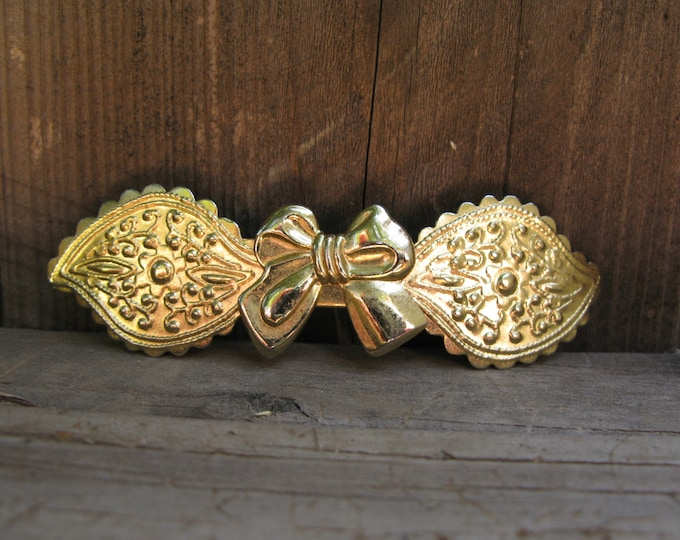 Vintage Brass Barrette, Bow and Filagree Details 1980's